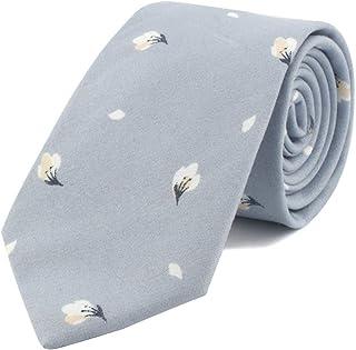 Secdtie Men's Skinny Tie Fashion Causal Cotton Floral Printed Linen Necktie