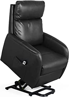 Recliner Chair Electric Lift Lounge with Remote Control Living Room Bedroom Office Reclining Sofa Chair PU Leather Seat with High Sponge with Side Pockets for Everyone. (Black)