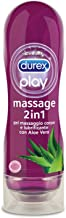 Durex Massage 2 in 1 Sensual Lubrificante Intimo e Gel Stimolante a Base Acqua con Aloe Vera, 200 ml