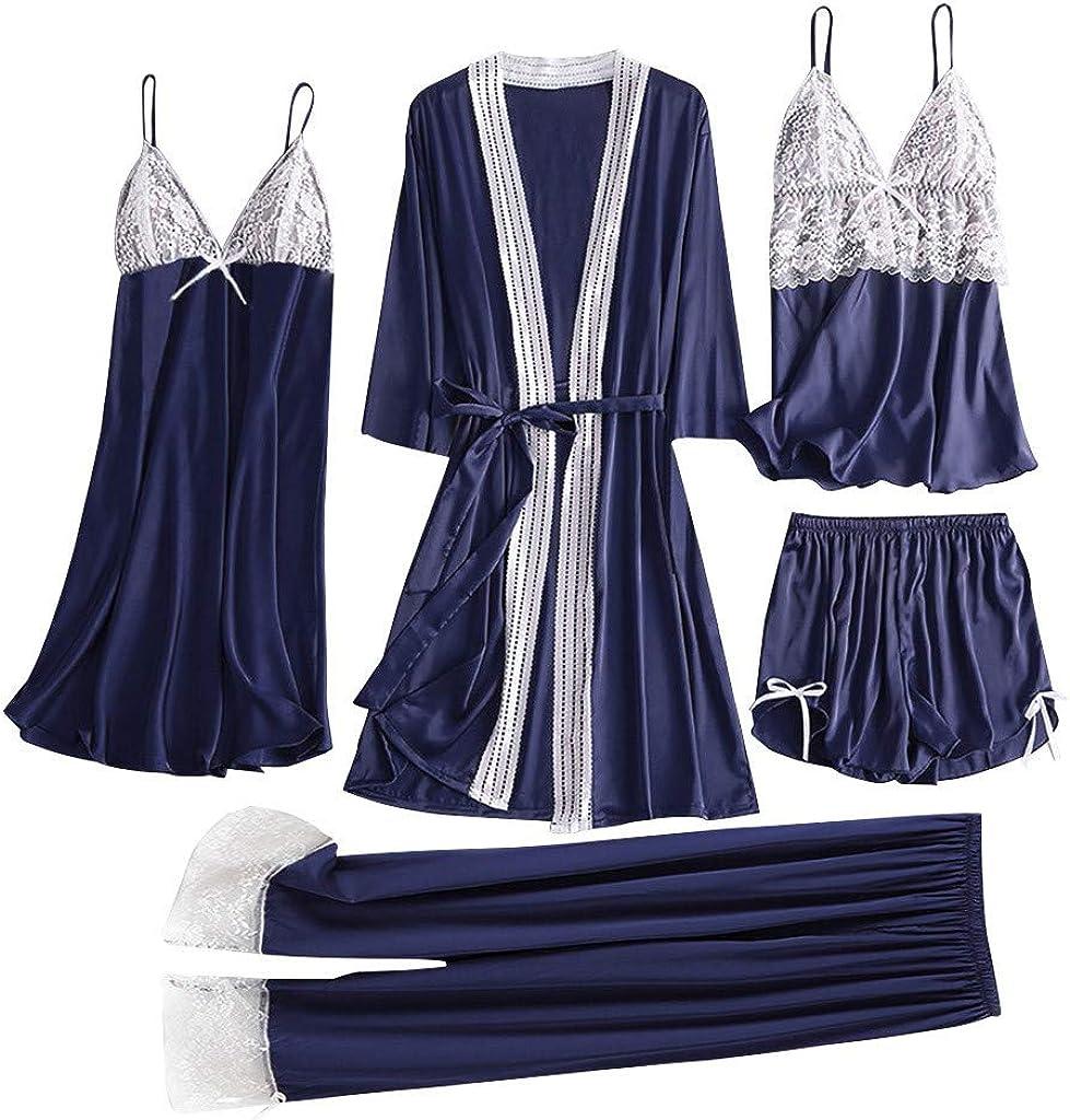 Women's 4-Piece Pajamas Set, Silk Satin Sleepwear Nightrobe, Lace Camisole Shorts Nightwear, Underwear Set Nightgown
