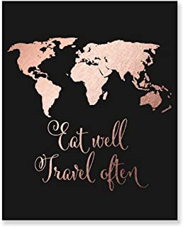 Eat Well Travel Often Rose Gold Foil Print Inspirational Wall Art Quote Decor Black Poster 8 inches x 10 inches E22