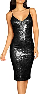 Women 2019 Sexy Sequin Backless Cami Dress - Strappy Glitter Midi Dress V Neck Solid Bodycon Club Party Dresses