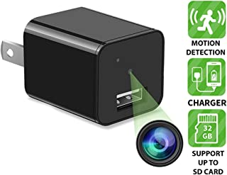 DENT 1080P USB Charger Camera - HD with Motion Detection, 32gb microSD Card Included, Pet Nanny Security Cam, USB AC Wall Plug Adapter for Phone