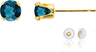 Solid 14K Gold or 14K Gold Plated 925 Sterling Silver Yellow, White or Rose Gold 5mm Round Genuine Gemstone Birthstone Stud Earrings