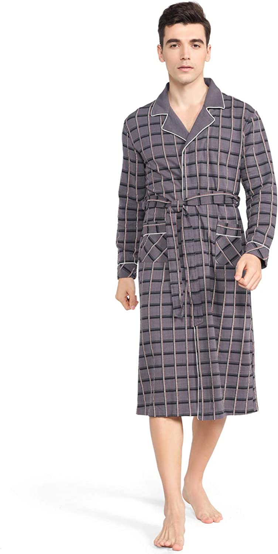 Cheap super special price KKQ Mens Robe Cotton Robes for Long Men Knit Kimono Max 86% OFF Bathrobe Spa