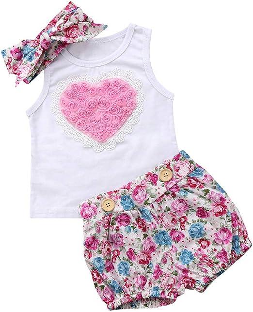 HBER 0-24 Meses Beb/é Ni/ñas Verano Ropa Una pieza Floral Mono Sin mangas Bodysuits Conjunto de trajes con Banda para la cabeza