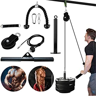 9 Pcs Cable Pulley Attachments System for Gym, Wrist Trainer Arm Strength Training Equipment, for LAT Pulldowns, Bicep Cur...