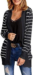 ZODOF Mujer Invierno Cardigan Jersey de Punto Suelto Color Sólido Chaqueta Suelta Chaqueta De Punto Abierto Suéter Mujer Manga Larga Chaqueta Casual con Botones para Primavera Otoño,Negro