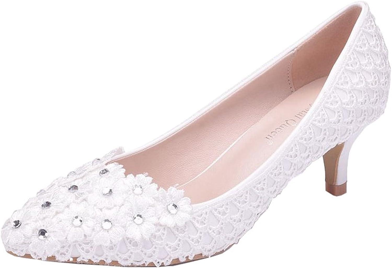 Minishion Womens Slip-on 2  Heel Lace Flowers Bridal Wedding Party Pumps