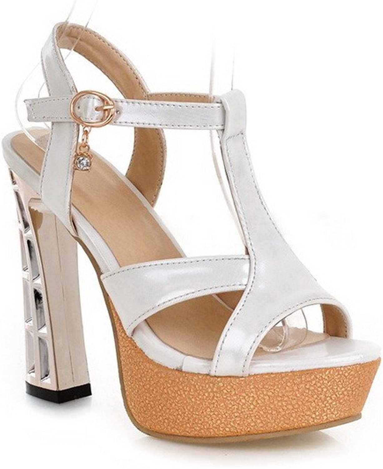 WeenFashion Women's Soft Material Buckle Open Toe High Heels Assorted color Sandals