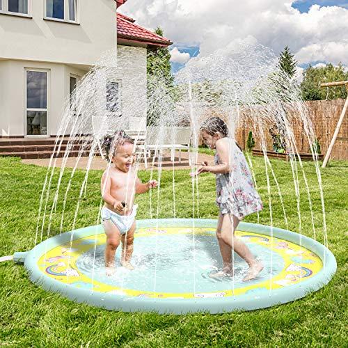 Anpro 172CM Alfombra Niño Waterjet Unicornio PVC, Alfombra Spray Plash Sprinkle Play Pad Mat ,Juegos Inflables Verano, Juguetes al Aire Libre
