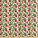 Lunarable Vegetables Fabric by The Yard, Radish Pattern Harvest Natural Healthy Salad Herbs Plant Agriculture Theme, Decorative Satin Fabric for Home Textiles and Crafts, 1 Yard, Fern Green