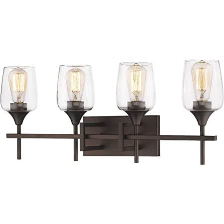 Zeyu Vanity Light Fixture 4 Light 27 Inch Bathroom Wall Sconce Lighting Fixture Oil Rubbed Bronze Finish With Clear Glass Shade 8000 4 Orb