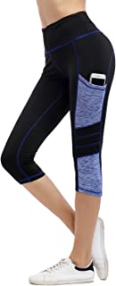 Women's Yoga Capri Pants Sport Tights Workout Running Mesh Leggings with Side Pocket
