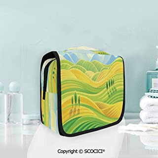 SCOCICI Travel Hanging Wash Bag Kit Sunny Rural Landscape with Rolling Hill