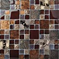 Special Carving Mosaic Art Accent Tile Red Brown Color Glass Wall Backsplash Tiles Rose Gold Metal Kitchen Bath Walls Decor TSTFLY16