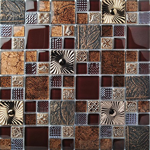 Special Carving Mosaic Art Accent Tile Red Brown Color Glass Wall Backsplash Tiles Rose Gold Metal Kitchen Bath Walls Decor TSTFLY16 (10 Square Feet)