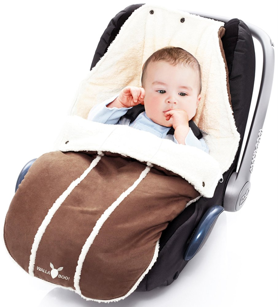 Wallaboo Baby Universal Bunting Bag, for Car Seat Stroller Pushchair, Footmuff Sack, Luxurious suéde and soft faux sheerling, Newborn upto 12 months, 84x50cm, Size: 33 x 20 inch, Color: Brown