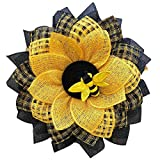 SHUAIGE Simulation Leaf Bee Sunflower Wreath, Artificial Garland Hanging Pendants for Front Door, World Bee Day Decor, Wall Indoors and Outdoors Decoration (A)