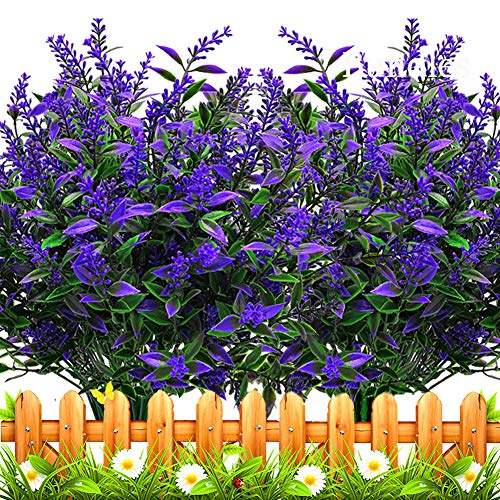 Grunyia 10 Bundles Artificial Lavender Flowers Outdoor Fake Plants Faux Plastic UV Resistant Flowers for Home Garden Porch Window Box and Cemetary Grave Decorations (10, Blue)