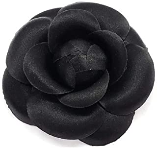 product image for Camellia Silk Fabric Flower Pin Brooch Flower. Black Camellia Brooch Pin - Hand-made in New York's Garment Center (American Made)