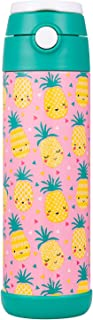 Snug Flask for Kids (500ml) - Vacuum Insulated Water Bottle with Straw (Pineapple)