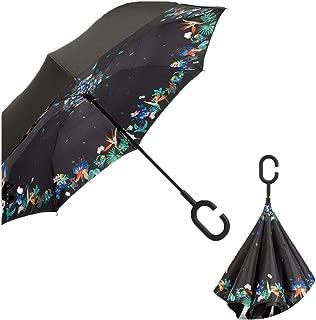 Folding Reverse Umbrella Double Layer Inverted Windproof Rain Car Umbrellas For Women Man,Deciduous flowering