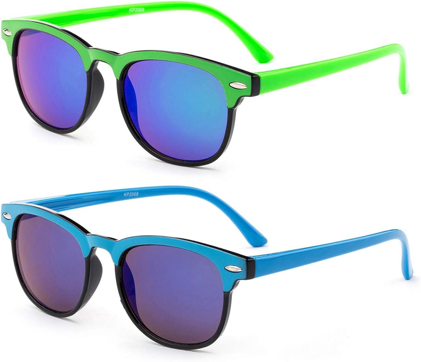 Kids Two Tone Sunglasses Flash Mirror Lens for Girls Boys UV Protection