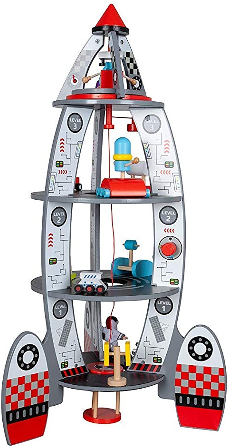TOYSTER'S My Rocket Ship Wooden Discovery Space Center Playset   Toddler Spaceship Astronaut Toy Dollhouse for Boys and Girls   Kids Wood Outer Space Activity Center Playhouse   Kids Ages 3 and Up