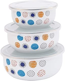 Enamel Bowl Three Piece Set Fresh Box Lunch Box 3 Pieces/set Classic White Enamel Dessert Bowls Soup Pots Salad Bowl Food bowl (Color : White)