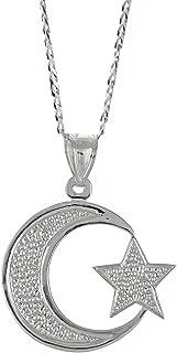 925 Sterling Silver Muslim/Islam Crescent Moon + Star Pendant w. Cuban Chain