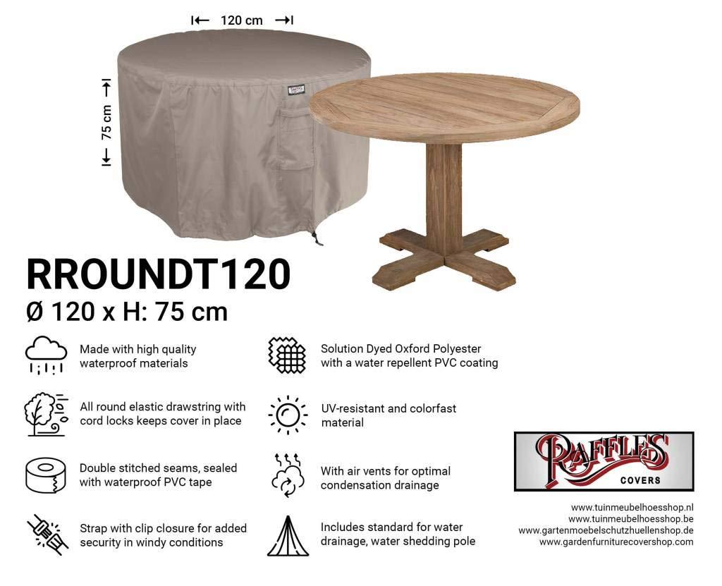 Raffles Covers Funda Redonda para Muebles de jardín NW-RROUNDT120, diámetro de 120 cm y Altura de 75 cm, Cubierta de protección para Mesa Redonda de jardín, Cubierta para Mesa Redonda de Patio: