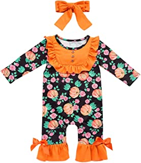 Newborn Baby Girls Clothes Halloween Ruffle Jumpsuit Floral Pumpkin Romper Long Sleeve Pajamas Birthday Outfits Playwear