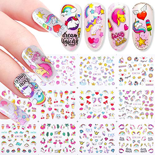 TOFD Unicorn Nail Stickers for Women Girls Fingernail Decorations 12 Sheets Water Transfer Nail Decals Cute Cartoon Rainbow Unicorn Flamingo Nail Sticker Set Manicure Charms Nail Tip Decor