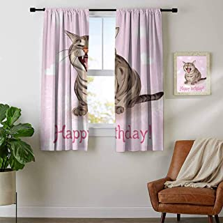 Birthday, Curtains Light Blocking, Funny Cat Sings a Greeting Song on Pink Color Backdrop with Hearts Flowers, Curtains Living Room, W63 x L45 Inch Baby Pink Brown