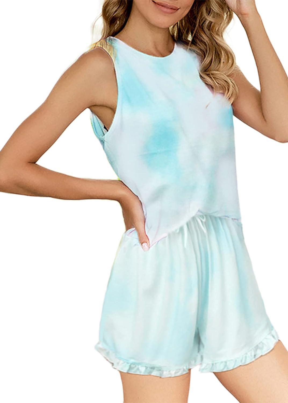 Hilinker Women's Tie Dye Pajama Sets Tank Top and Ruffle Shorts 2 Piece Pjs Sets Sleepwear Loungewear