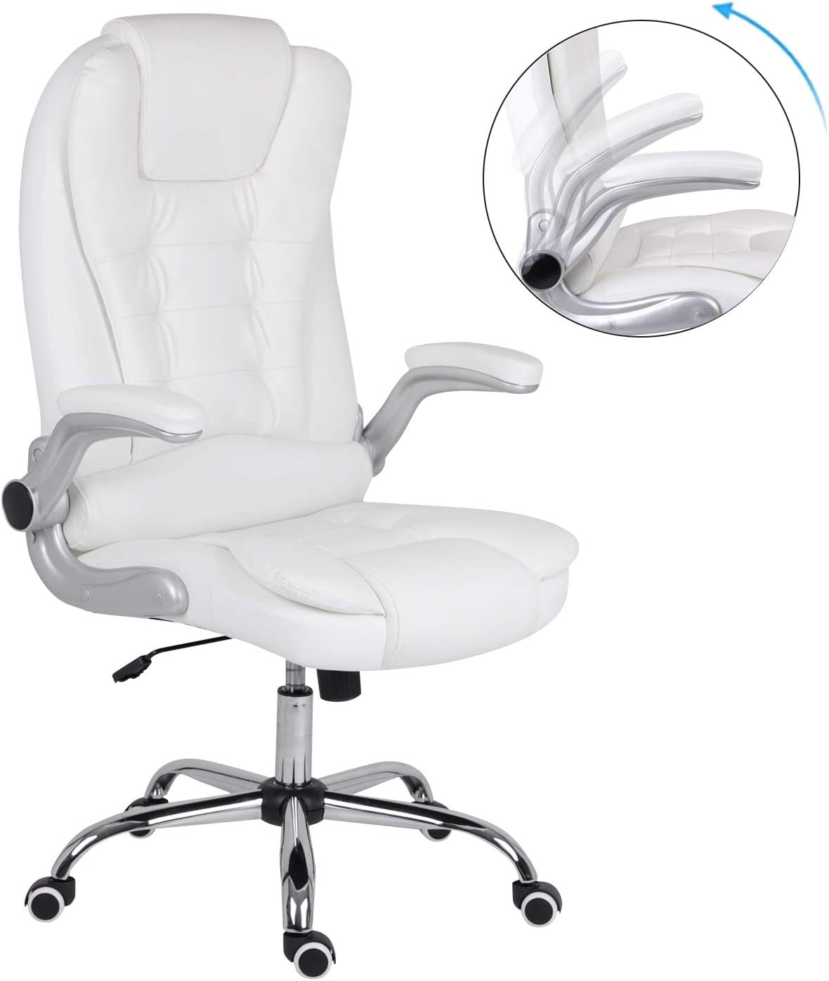 Euco Extra Padded Office Chair With Folding Armrets High Back Leather Computer Chair Adjustable Height Amazon De Kuche Haushalt