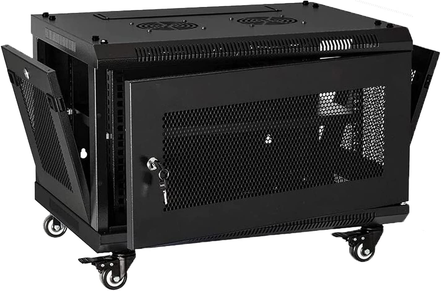 FerruNet6U Casters Network Cabinet Enclosure, Wall Mount Rack w/Wheels, Deluxe 19 inch IT Series Server Data Devices Storage,ApplytoSmall Office, Home Office.