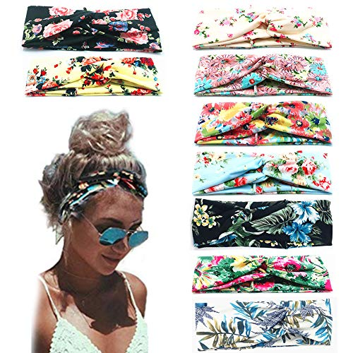 Beach Headbands for Women, 9 Pack Women's Boho Headbands for Women Girls Wide Bohemian Knotted Yoga Headband Head Wrap Hair Band Elastic Hair Band Accessories for girl(A)