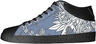Custom Flower Womens Classic High Top Canvas Shoes Fashion Sneaker