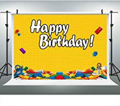 LUCKSTY Lego Birthday Backdrops for Photography 9x6FT Colorful Bricks Yellow Photo Backgrounds for Lego Themed Birthday Backdrop Banner LUXC043