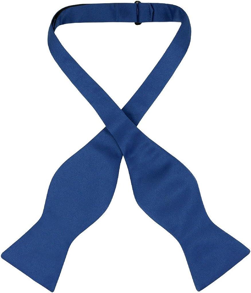 Vesuvio Napoli SELF TIE Bow Tie Solid ROYAL BLUE Color Men's BowTie