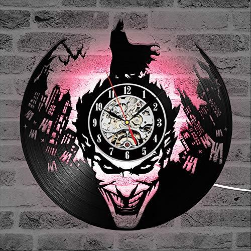 Vinyl Wanduhr Wanduhr Mit 3D-Aufnahme bat Joker Vinyl Klassische Led Beleuchtung Uhr Wandbehang Dekoration Retro Art Deco Uhr