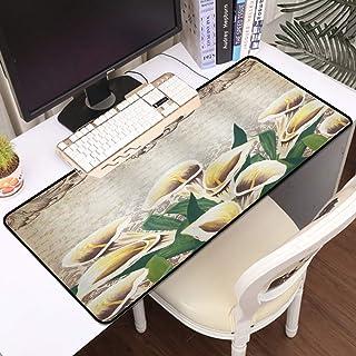 Luoquan Alfombrilla Raton Grande Gaming Mouse Pad,Verde Floral Calla Lilly Flores Decoración Diseño Vintage Patrón Retro M...