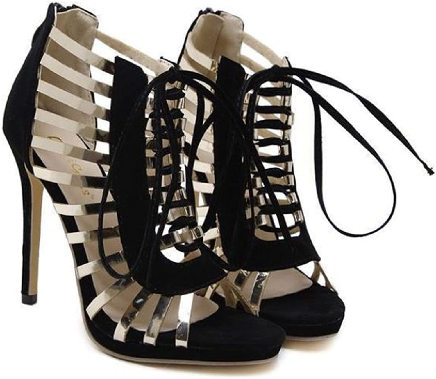 pink town Women Sexy Strappy Gladiator Wedding Sandals High Heel Stiletto shoes for Summer