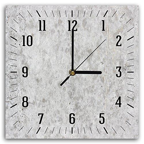 Feeby, Wanduhr, mehrfarbige Deco Panel Bild mit Uhr, 30x30 cm, MARMOR, GRAU