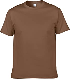 2021 Cotton Mens T-Shirt O-Neck Pure Color Short Sleeve Men T Shirt XS-3XL Man T-shirts Top Tee For Male (Color : Brown, S...