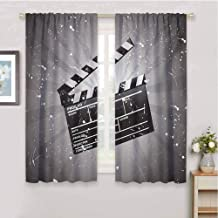 HoBeauty home Movie Theaterkids curtainClapper Board on Retro Backdrop with Grunge Effect Director Cut Scenelight curtainGrey Black White72 x 45 inch