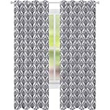 Cortinas opacas de oscurecimiento de habitación, estilo damasco, adornado con follaje de 52 x 84, cortinas opacas para sala de estar