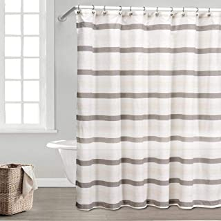 Duck River Textile Akua Striped Fabric Shower Curtain Water Resistant, 70 x 72, Linen & Brown